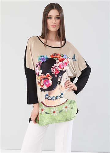 Lir Women Printed Flower Embroidered Blouse Black 2123
