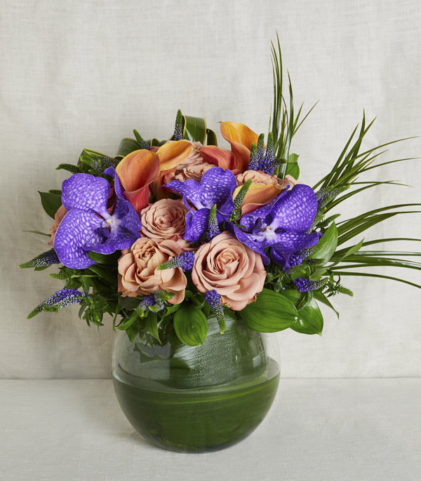 Orange Purple Ball Vase Arrangement