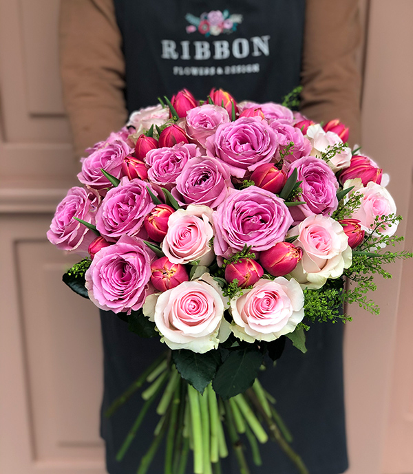 Pink Roses Tulips Bouquet