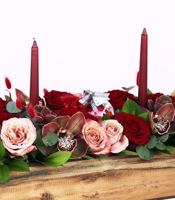 Valentine's Day Candle Chocolate Deluxe Wooden Arrangement