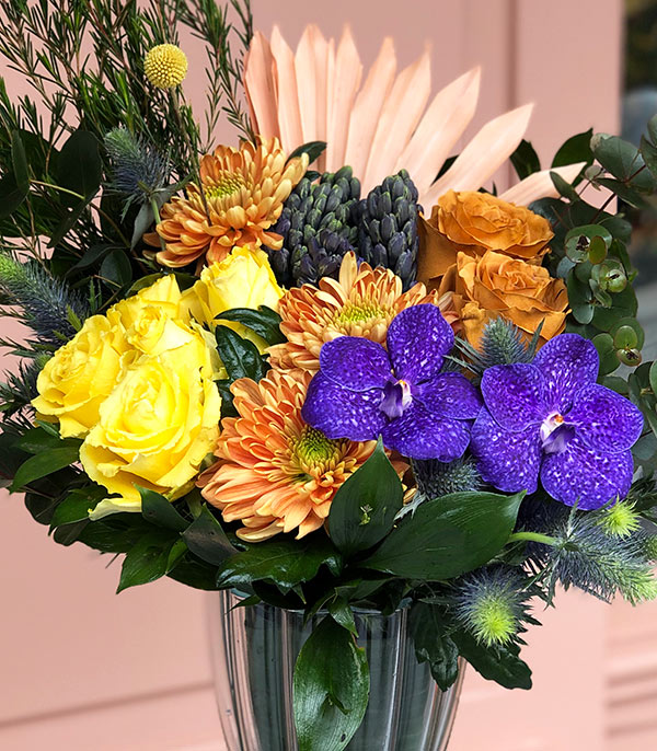 Yellow Purple Arrangement in Vase