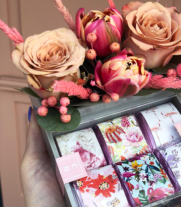 Chocolate Tiny Box with Pink Flowers
