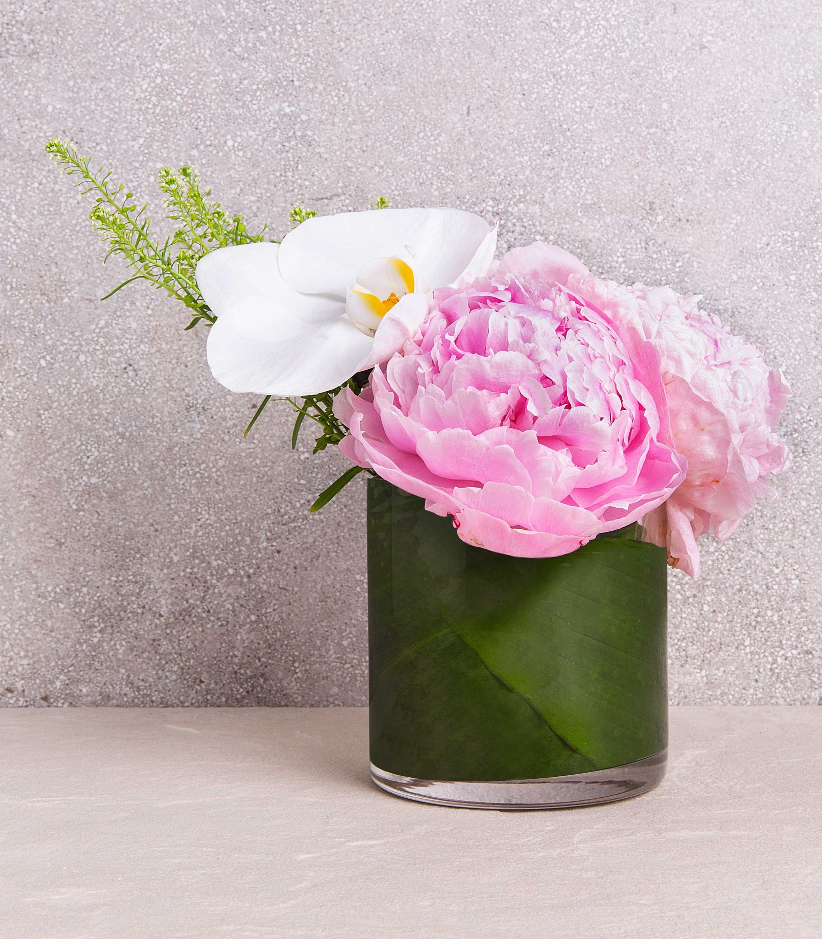 Peony and Orchid in Glass Vase