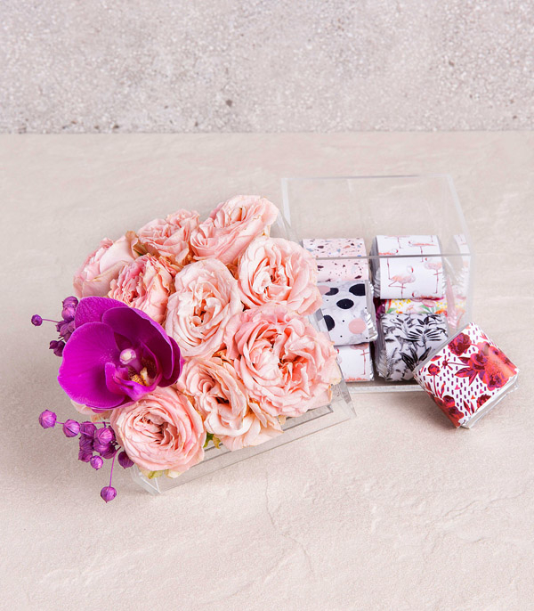Luxe Box with Pink Flowers