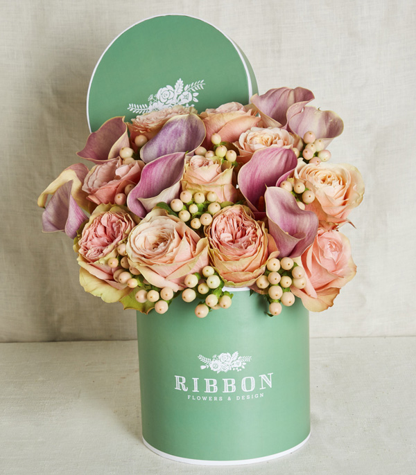 Salmon Roses in Green Box