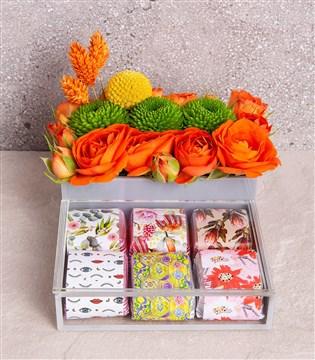 turuncu, çikolata çiçek kutusu, fındıklı çikolata