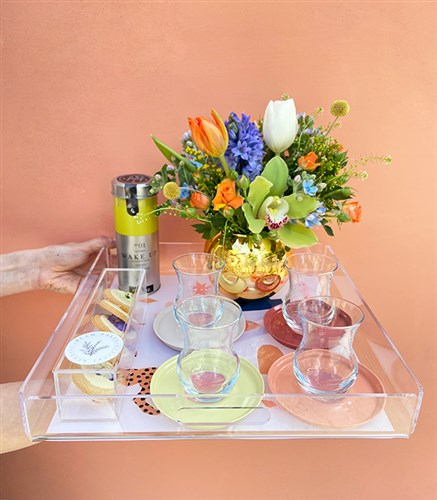 Flower Tea Gift Set on Tray for Mom