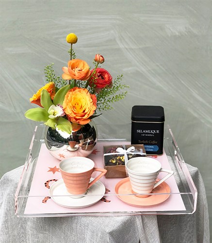 Flower Coffee Gift Set on Tray for Mom
