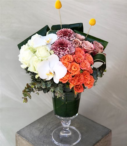 Orange and White Arrangement in Vase