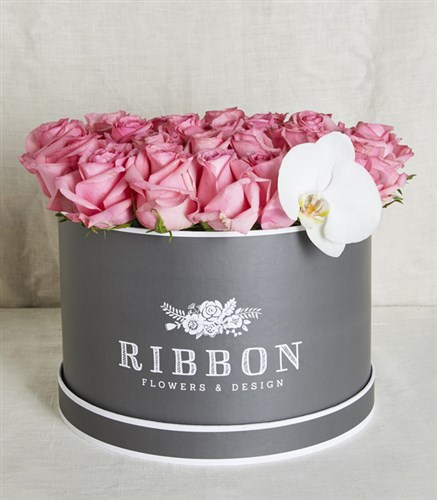 Pink Roses in Gray Box