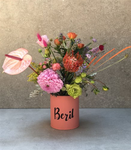 Seasonal Flowers in Personalized Vase