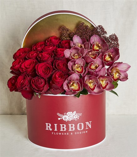 Roses and Orchids in Grand Red Box