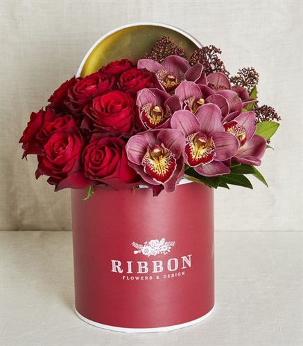 Roses and Orchids in Red Box