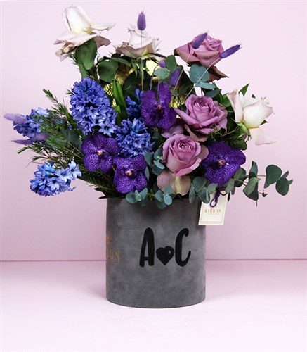 Lilac Arrangement in Personalized Name Box