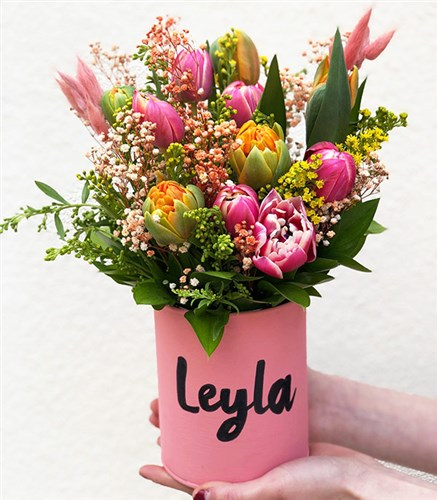 Colorful Tulips in Personalized Vase