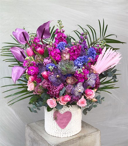 Pink Purple Flowers Peonies Heart Knitted Box