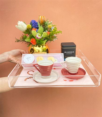 Flower Coffee Gift Set Cream Tray For Mom