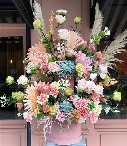 Pink Flower Tower Arrangement