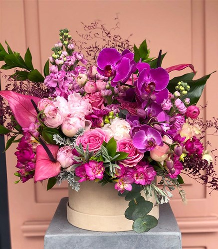 Pink Fuchsia Deluxe Box Arrangement
