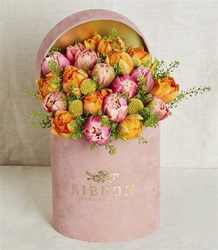 Tulips in pink box