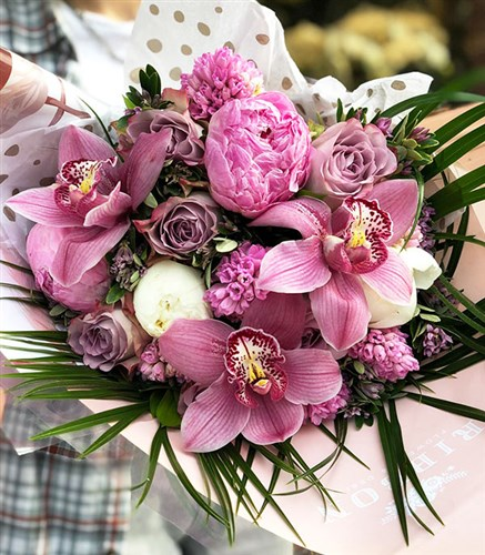 Pink Peony Orchid Dreams Bouquet