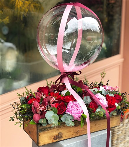 Pink Peony Balloon Candle Chocolate Grand Wooden Arrangement