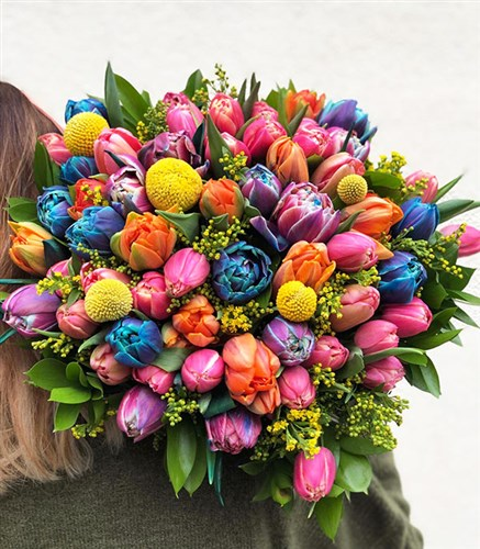 Colorful 60's Tulips Bouquet