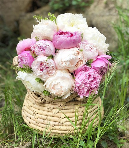 15 Piece Peony Bouquet in Basket