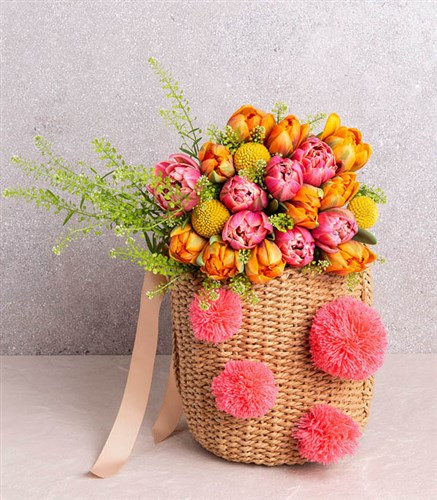 Bouquet of Tulips in Basket