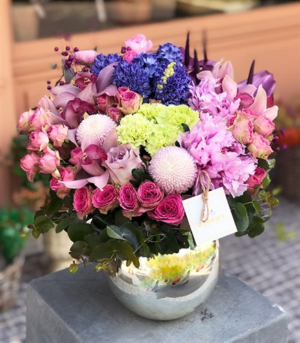 Lilac Arrangement in Ball Vase