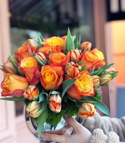 Panoramic Orange Arrangement in a Ball Vase