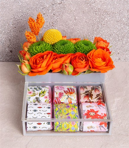 Orange Chocolate Flower Luxe Box