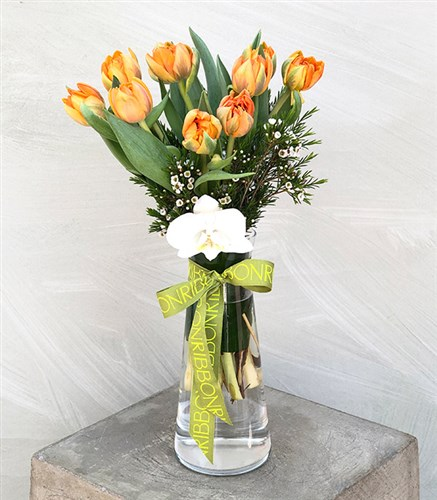 Orange tulip and orchid in vase