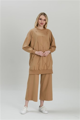 Dikişli Sweat Tunik - Latte